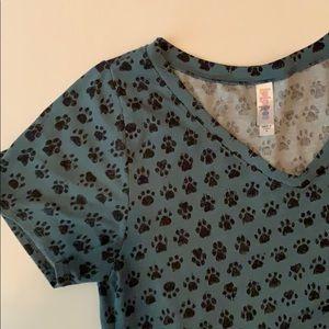 Lularoe Size M dog paw shirt